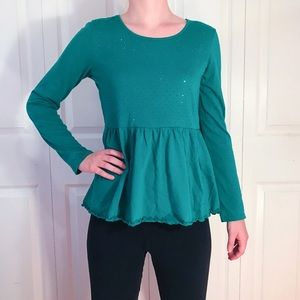 Old Navy Flowy Green Sparkly Top